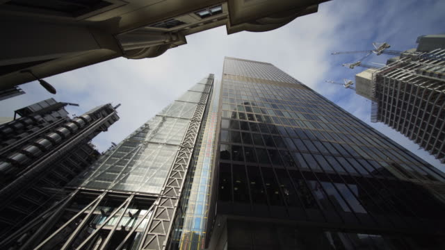 sky scrappers in the city of london - directly below stock videos & royalty-free footage