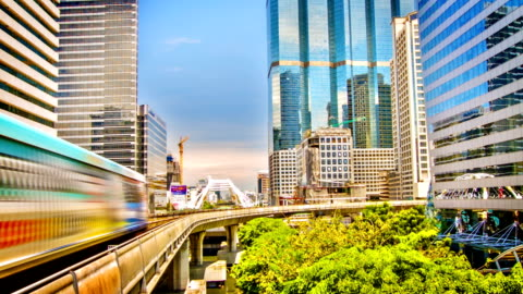 sky train in bangkok - elevated train stock videos & royalty-free footage