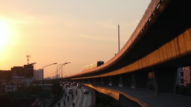 sky train  with sunset in bangkok