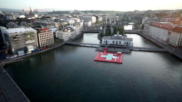 sky view of rhone river in geneva, switzerland - rhone river stock videos & royalty-free footage