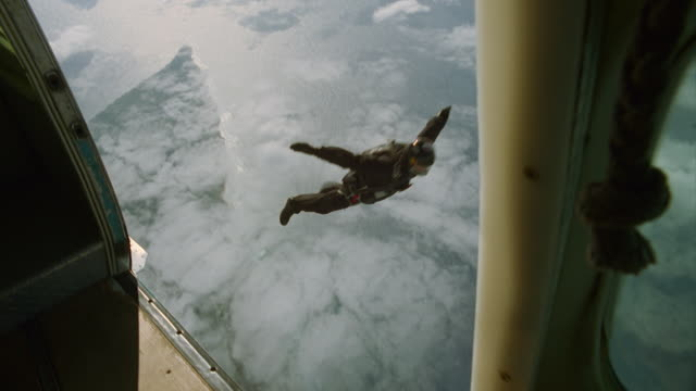 Skydiver exits airplane
