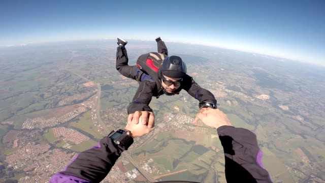 skydiver having fun - point of view video stock e b–roll