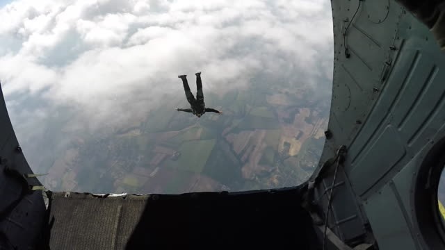 skydiver jumping out of rear of airplane - extreme sports stock videos & royalty-free footage