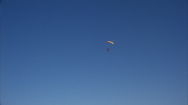 A skydiver swoops in for a nice landing .