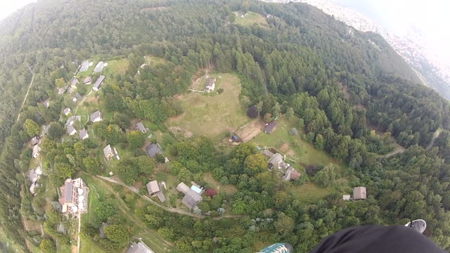 POV of Skydivers flying in mid air