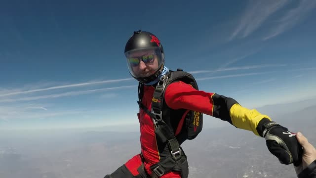 skydivers jumping out of airplane - touching stock videos & royalty-free footage