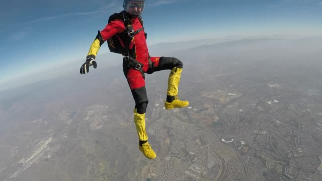 skydivers jumping out of airplane - wearable camera stock videos & royalty-free footage