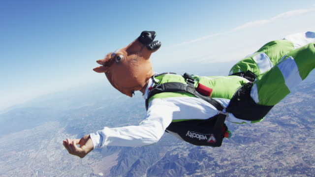 Skydiving In A Horse Mask