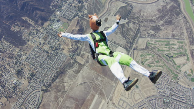 skydiving in a horse mask - free falling stock videos & royalty-free footage