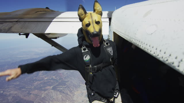 Skydiving In Dog Mask - Airplane Exit