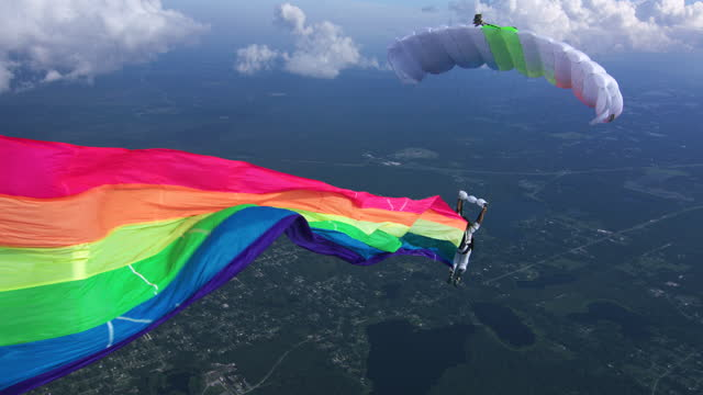 skydiving rainbow banner - annual event stock videos & royalty-free footage