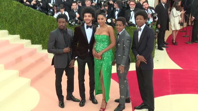 skylan brooks tremaine brown jr herizen f guardiola justice smith and shameik moore at manus x machina fashion in an age of technology costume... - manus x machina: fashion in an age of technology stock videos and b-roll footage