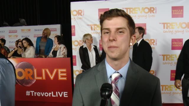 interview skylar kergil at 16th annual trevor project benefit presented by wells fargo in los angeles ca - markenname stock-videos und b-roll-filmmaterial