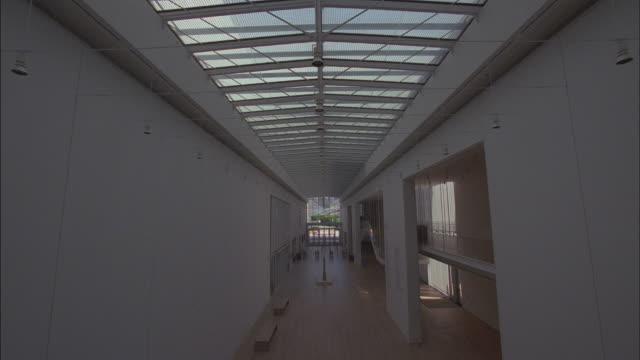 Skylights provide natural light to a building atrium.