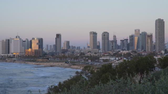 TEL AVIV: Skyline and coastline of TelAviv at Sunset