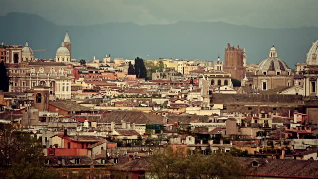 Skyline and domes of Rome from Gianicolo Hill