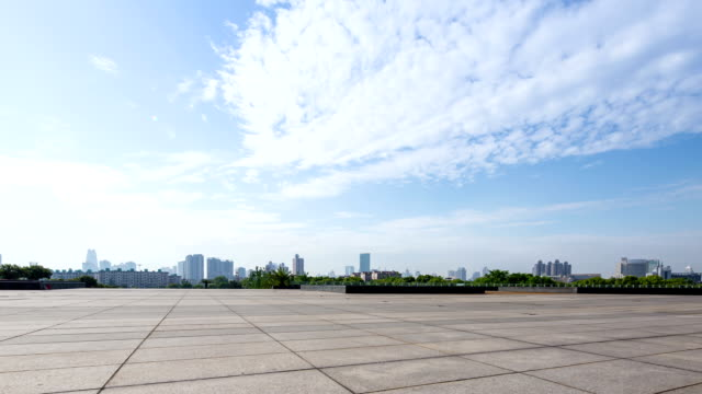 skyline and empty square in modern city Ningbo during daytime,time lapse.