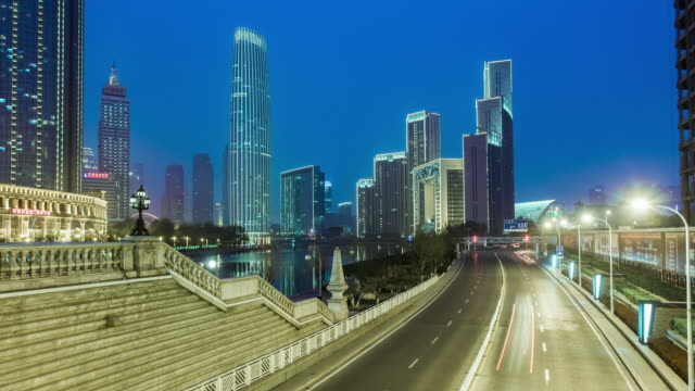 Skyline and modern buildings at night in Tianjin,China