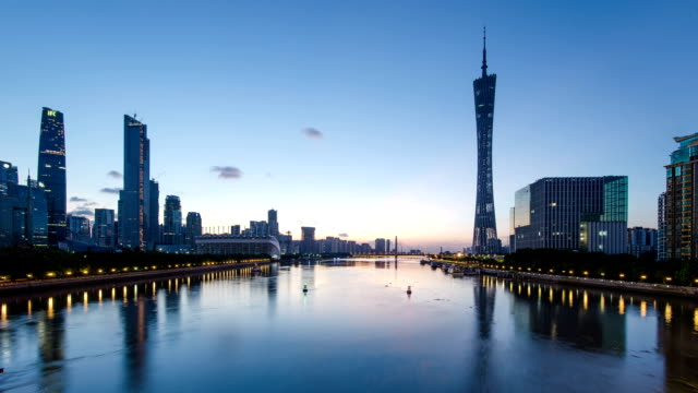 Skyline and modern office buildings of Guangzhou at riverbank during dawn,time lapse.