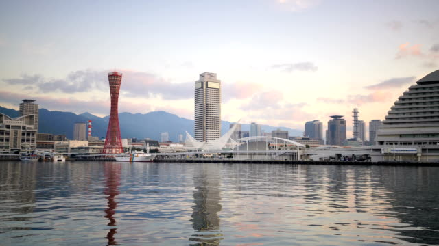 skyline and port of kobe in japan - osaka stock videos and b-roll footage