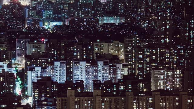 vídeos y material grabado en eventos de stock de t/l ws ha td skyline y zona residencial por la noche / beijing, china - fachada arquitectónica