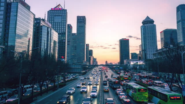 skyline and traffic on city street in Beijing