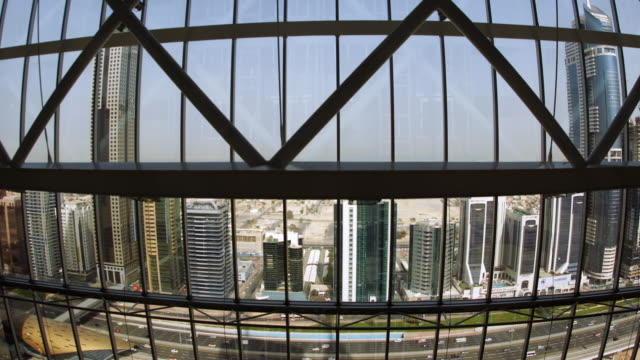 t/l ws pov skyline as seen from moving elevator / dubai, united arab emirates - elevator point of view stock videos and b-roll footage