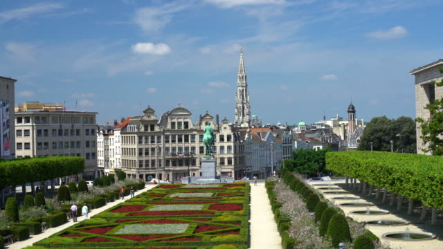 skyline brussels with park, time lapse - brussels capital region stock videos & royalty-free footage