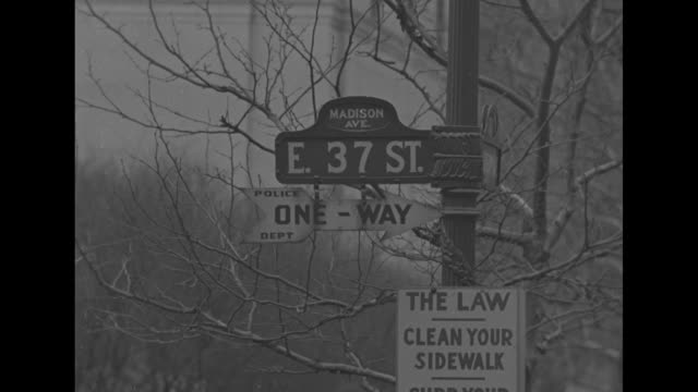 "skyline, city bank-farmers trust building on right / street sign ""e 37th street and madison avenue"" sign and ""the law, clean your sidewalk"" sign /... - street name sign stock-videos und b-roll-filmmaterial"