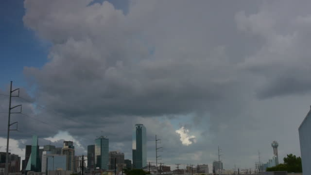 t/l skyline dallas, texas - storm cloud stock videos & royalty-free footage