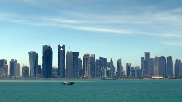 skyline - doha, qatar - qatar stock videos & royalty-free footage