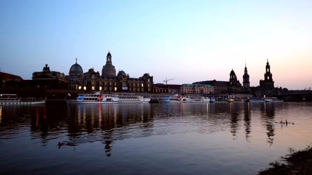skyline dresden by sunset - hofkirche stock videos & royalty-free footage