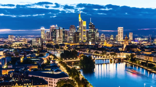 Skyline Frankfurt by night, time lapse
