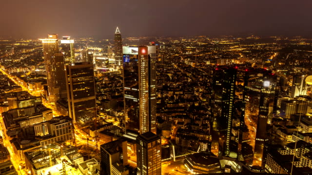 Skyline Frankfurt by sunset, time lapse
