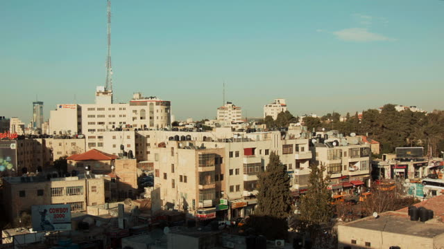 skyline in the city center of ramallah, palestine - ramallah stock videos and b-roll footage