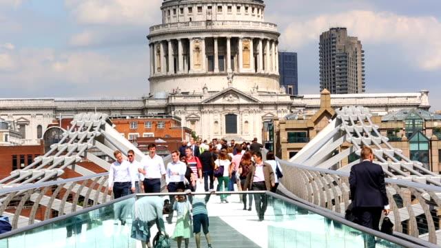 skyline millennium bridge london, time lapse - london millennium footbridge stock videos and b-roll footage