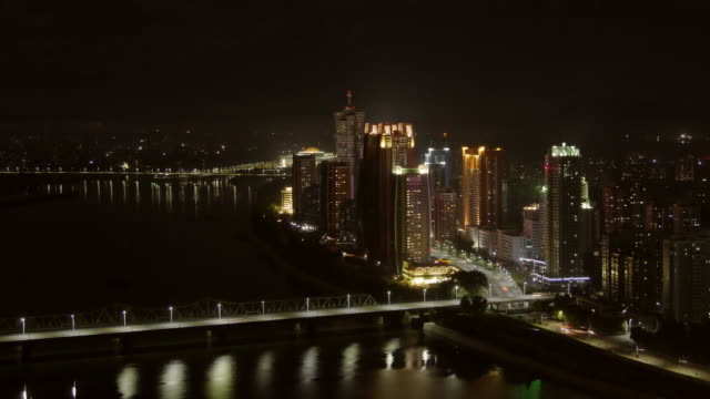 skyline night shot of futuristic buildings at mirae scientists street in pyongyang, north korea, dprk. - spoonfilm stock videos and b-roll footage
