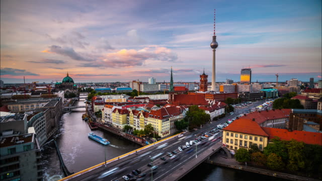 skyline of berlin, germany - time lapse - berlin stock videos & royalty-free footage