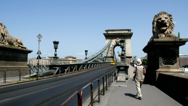 skyline of budapest ,hungarian parliament building - széchenyi chain bridge stock videos and b-roll footage