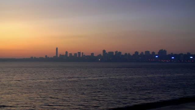 WS, ZI, Skyline of buildings at Marine Drive at sunset, Mumbai, Maharashtra, India
