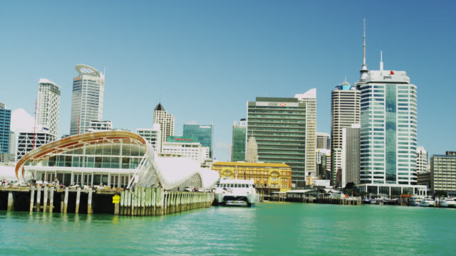 skyline of cbd - auckland ferry stock videos & royalty-free footage