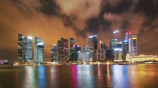 skyline of central business district in dusk, singapore - singapore river stock videos & royalty-free footage