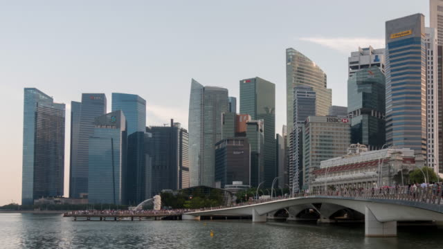 skyline of central business district of singapore city - marina stock videos & royalty-free footage