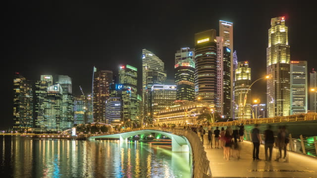 skyline of central business district - singapore river stock videos & royalty-free footage