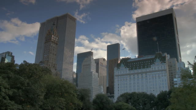 WS T/L Skyline of Central Park South, plaza and GM building / New York City, New York, USA