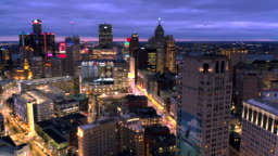 Skyline of Detroit Michigan at sunset aerial