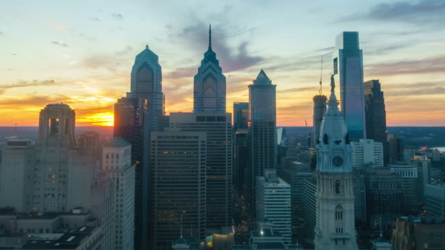 skyline of downtown philadelphia at sunset - philadelphia pennsylvania stock videos & royalty-free footage