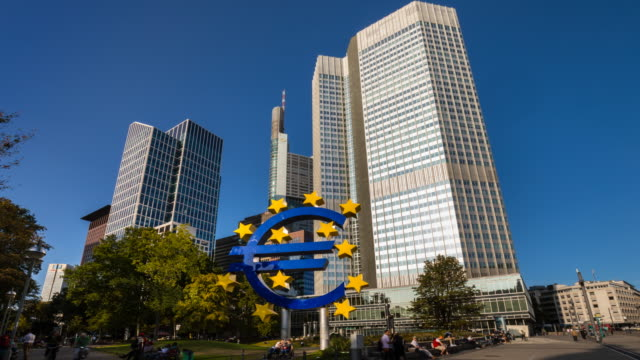 skyline of frankfurt financial district with euro symbol, tl, zo - currency symbol stock videos & royalty-free footage