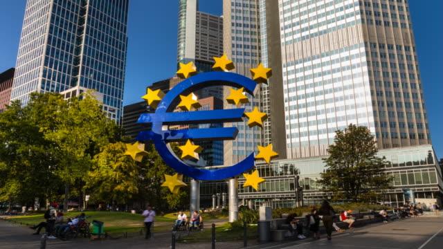 skyline of frankfurt financial district with euro symbol, tl, cu - german culture stock videos & royalty-free footage