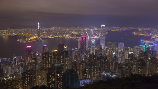 skyline of Hong Kong city from victoria peak